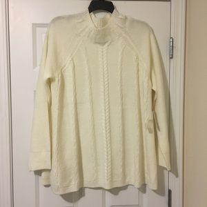 New XXL Elle White Cream Braided Sweater